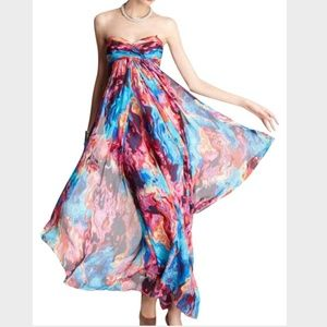Multicolor Sunset Strapless Empire Silk Gown